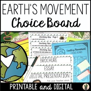 Earth's Movement Choice Board