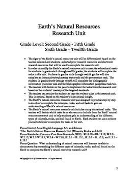 Earth' s Natural Resources Research Unit