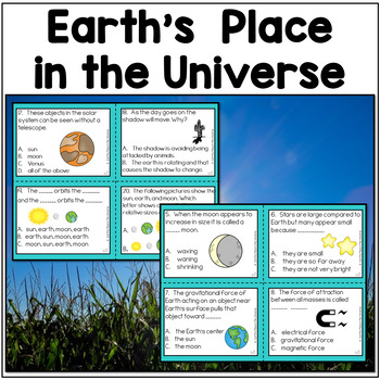 Earth's Place in the Universe NGSS 5-ESS-1, 5-ESS1-2, 5-PS2-1 Task Cards