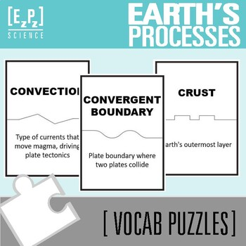 Earth's Processes Science Vocabulary Puzzles