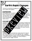 Earth's Rapid Changes Worksheet
