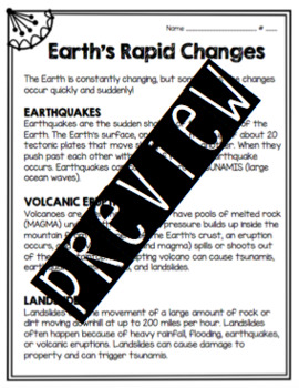 Earth's Rapid Changes Worksheet