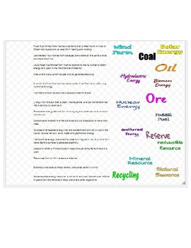 Earth's Resources Drag-n-Drop Vocab for Google Classroom