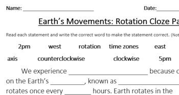 Earth's Rotation Cloze Passage
