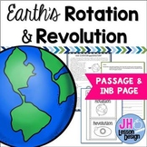 Earth's Rotation and Revolution: Passage and Interactive Notebook Activity