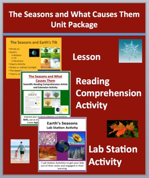 Earth's Seasons Unit Package - Lesson, Lab Station Activity and Reading