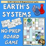 Biogeochemical Cycles and Earth's Spheres Printable Board Game WITH Questions!
