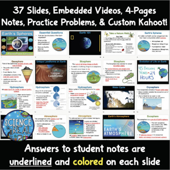 Earth's Spheres and Interactions PowerPoint with Notes, Puzzle, and KAHOOT! Quiz