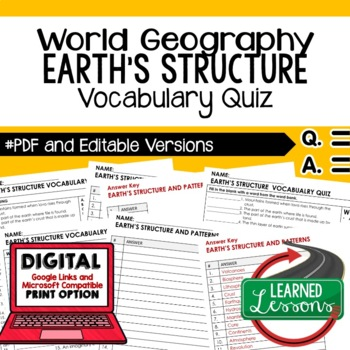 Earth's Structure Vocabulary Quiz Geography Assessment