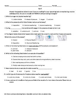 Earth's Structures Quiz 6th gr Science