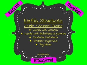 Earth's Structures -Science Vocabulary Cards Science Word Wall -Landform volcano