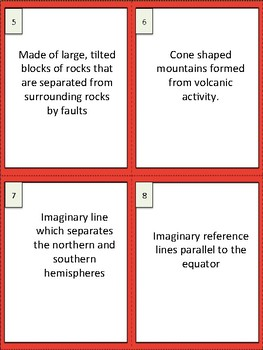 Earth's Surface Study Buddy Vocabulary Cards