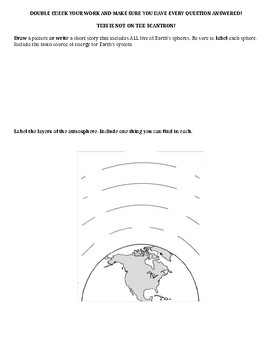 Earth's Systems Science middle school test