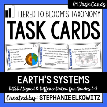 Earth's Systems Task Cards (Differentiated and Tiered)