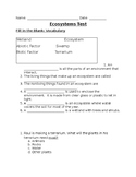 Earth's ecosystems Test- NGSS aligned
