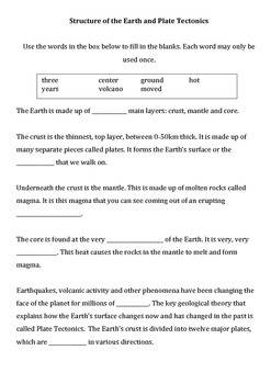 Earth structure and plate tectonics differentiated worksheet by Gen ...