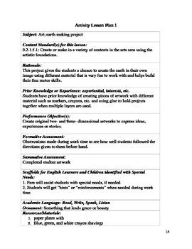 Earth week lesson plan packet for kindergarten