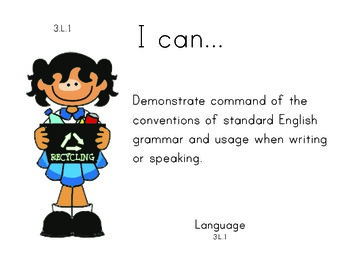 EarthDay 3rd grade English Common core standards posters