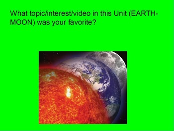 "Earth/Space ActivInspire Unit Assessment Review ""Planet Earth and the Moon"""
