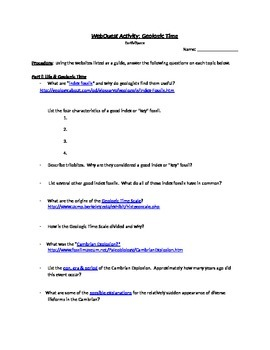 Geologic Time Webquest Worksheet Answers