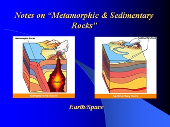 """Earth/Space Lesson II PowerPoint """"Metamorphic and Sedimentary Rocks"""""""