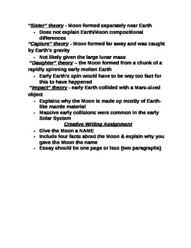 """Earth/Space Student PPT Note Guide Lesson II """"The Moon"""""""