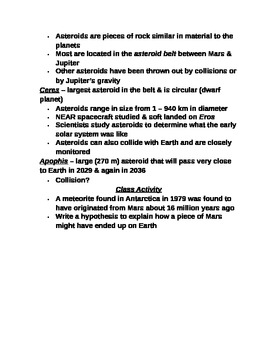 """Earth/Space Student PPT Note Guide Lesson IV """"Other Objects in the Solar System"""""""
