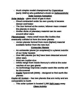 """Earth/Space Student PPT Note Guide Lesson I """"The Solar System"""""""