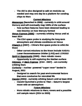 """Earth/Space Student PPT Note Guide Lesson III """"Current / Future Space Missions"""""""
