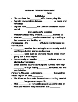 "Earth/Space Student PPT Note Guide Lesson III ""Weather Forecasts"""