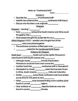 """Earth/Space Student PPT Note Guide Lesson I """"Continental Drift"""""""