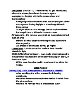 "Earth/Space Student PPT Note Guide Lesson I ""Earth's Atmosphere"""