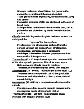 """Earth/Space Student PPT Note Guide Lesson I """"Earth's Atmosphere"""""""