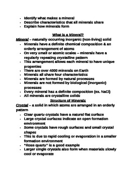 """Earth/Space Student PPT Note Guide Lesson I """"Introduction to Minerals"""""""
