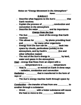 """Earth/Space Student PPT Note Guide Lesson II """"Energy Movement in the Atmosphere"""""""