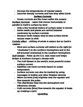 """Earth/Space Student PPT Note Guide Lesson II """"Ocean Currents"""""""