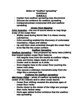 """Earth/Space Student PPT Note Guide Lesson II """"Seafloor Spreading"""""""