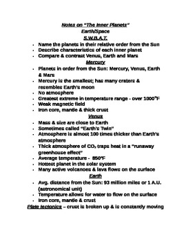 """Earth/Space Student PPT Note Guide Lesson II """"The Inner Planets"""""""