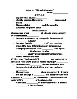 """Earth/Space Student PPT Note Guide Lesson III """"Climatic Changes"""""""