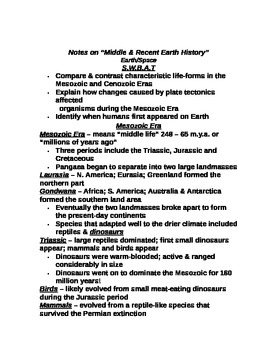 "Earth/Space Student PPT Note Guide Lesson III ""Middle and Recent Earth History"""
