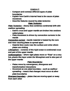 """Earth/Space Student PPT Note Guide Lesson III """"Plate Tectonics"""""""