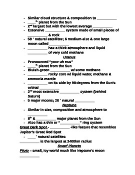 """Earth/Space Student PPT Note Guide Lesson III """"The Outer Planets"""""""