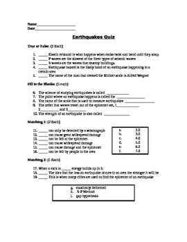 Earthquakes - Assessment (Quiz)