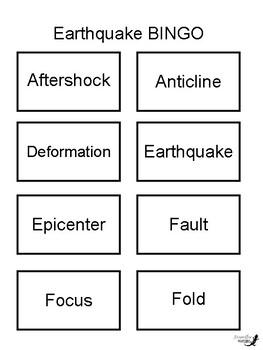 Earthquake BINGO!