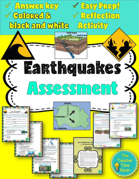 Earthquake Bundle Assessments (test, quiz, answer key, reflection activity)