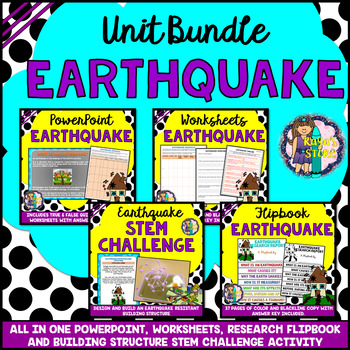 Earthquake Bundle (PowerPoint Worksheets Flipbook Stem Challenge Activity)