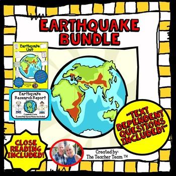 Earthquake Unit | Passages & Questions | Research Report Bundle