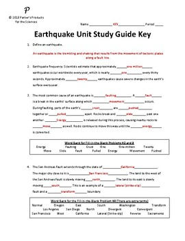 Earthquake Chapter Study Guide