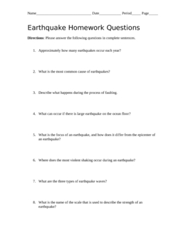 Earthquake Homework Questions with Answer Key