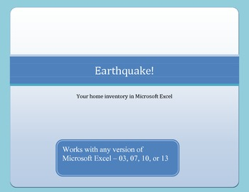 Earthquake Inventory List with Microsoft Excel 2000 - 2010
